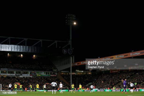 A view as floodlights fail during the Sky Bet Championship match between Norwich City and Derby County at Carrow Road on December 29 2018 in Norwich...
