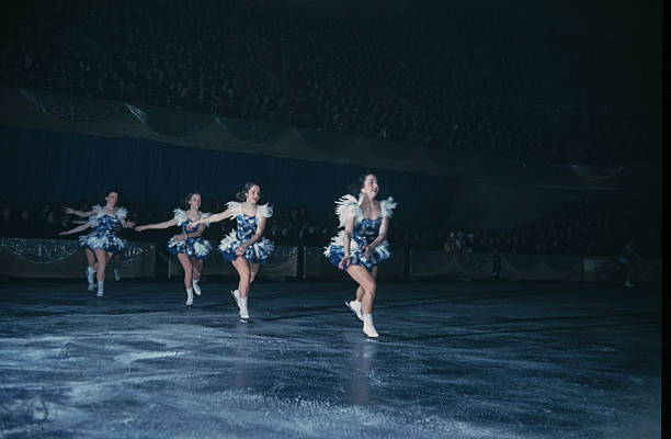 A view as girls perform on ice during the StPaul Winter Carnival in StPaulMinnesota