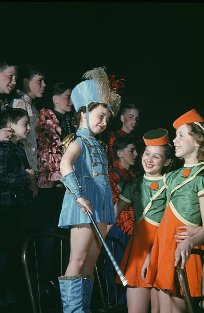 A view as majorettes wait to perform during the StPaul Winter Carnival in StPaulMinnesota