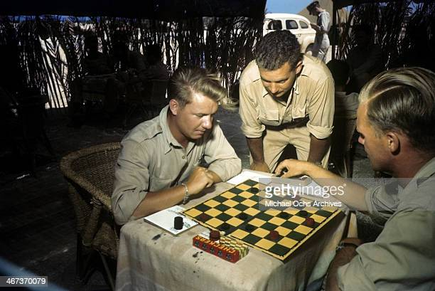 A view as members of the 376th Bombardment Group play chess at the US Air Force Base in Benghazi Libya