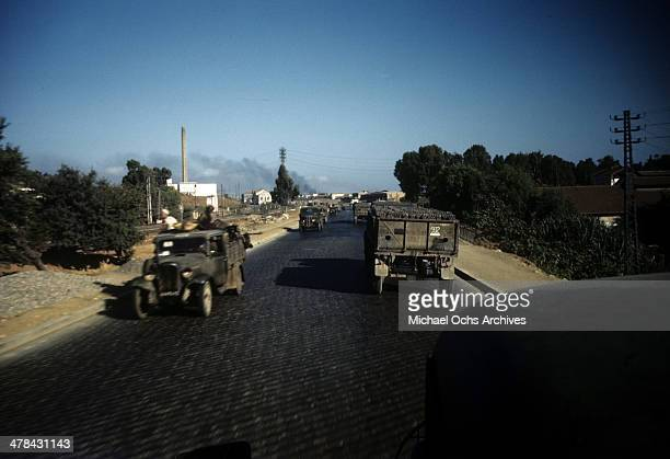 A view as military trucks drive in a US Base in Algiers Algeria