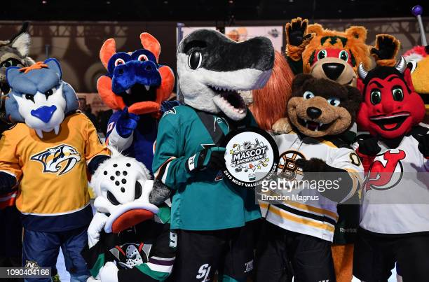 A view as NHL mascots pose during the NHL Mascot Showdown at San Jose McEnery Convention Center on January 27 2019 in San Jose California
