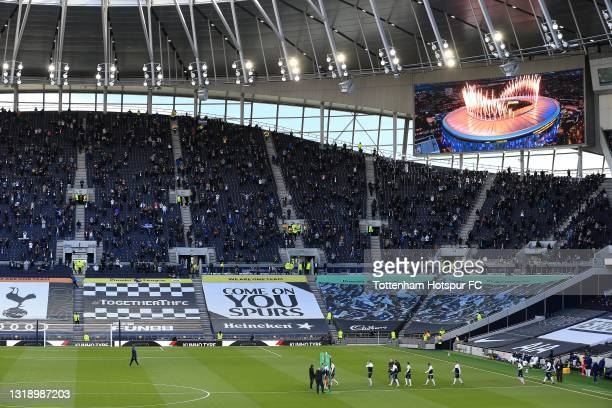 View as players walk out during the Premier League match between Tottenham Hotspur and Aston Villa at Tottenham Hotspur Stadium on May 19, 2021 in...