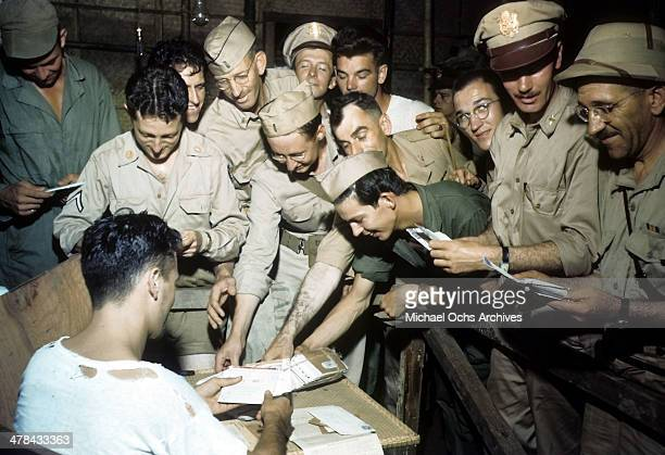 A view as servicemen get mail at the US Airforce base in Chabua Assam India