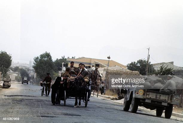 A view as Sicilians and Allied forces drive though town after the invasion of Sicily called Operation Husky during the World War II in Palermo Sicily...