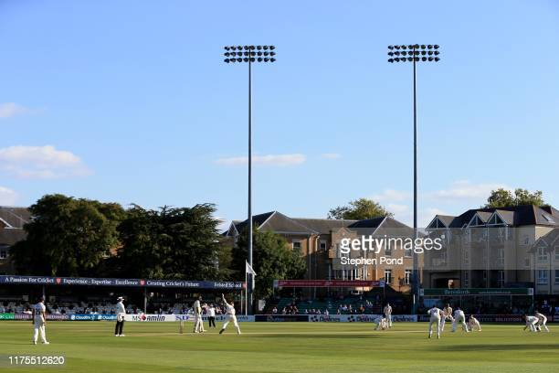 View as Simon Harmer of Essex bowls during the Specsavers County Championship Division One match between Essex and Surrey at Cloudfm County Ground on...