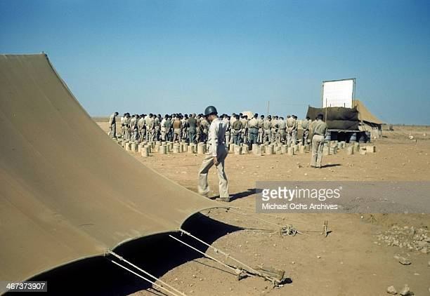 A view as soldiers stand attention at the US Air Force base in Benghazi Libya