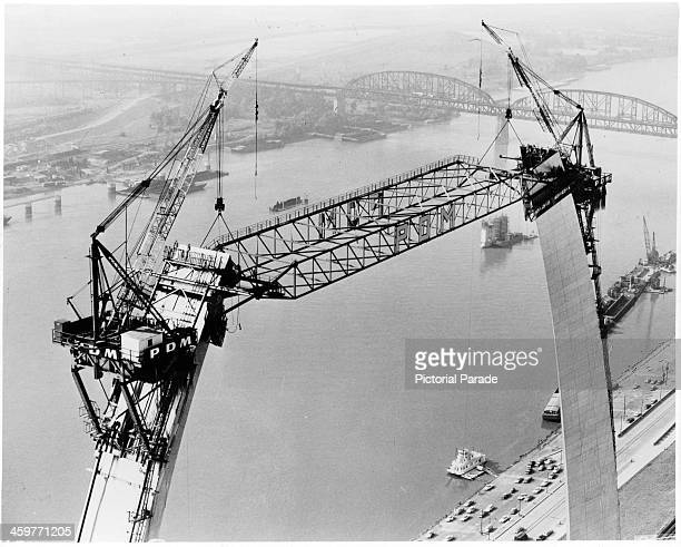 A view as temporary stabilizing strut in place as the stainless steel Gateway Arch in being constructed in St Louis MissouriCirca 1900