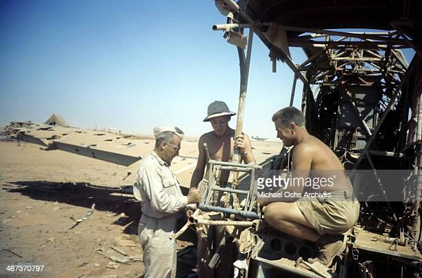 A view as the 376th Bombardment Group sets up chairs at the US Air Force Base in Benghazi Libya