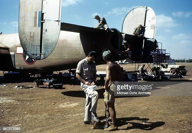 A view as the 389th Bombardment crew work on a B24 Liberator at the US Air Force base in Benghazi Libya