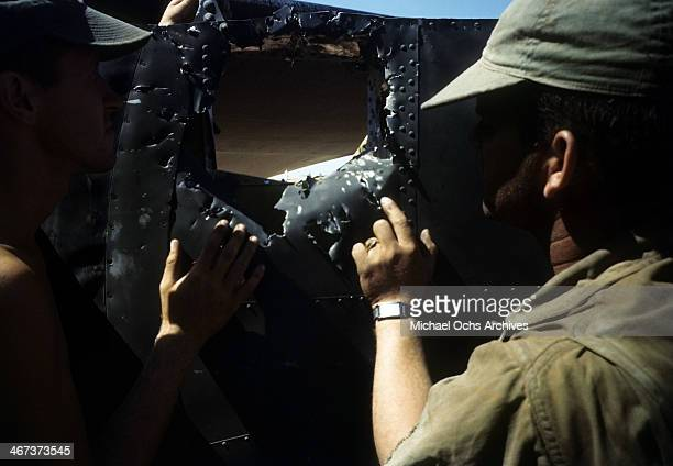 A view as the crew of the 44th Bombardment Group inspect a B24 Liberator at the US Air Force Base in Benghazi Libya