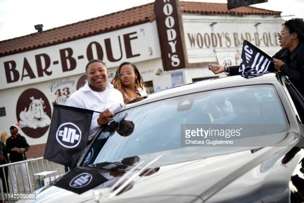 A view as the funeral procession passes the Marathon Clothing Store during Nipsey Hussle's Celebration of Life and Funeral Procession on April 11...