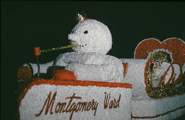 A view as the Montgomery Wards float in the night parade during the StPaul Winter Carnival in StPaulMinnesota