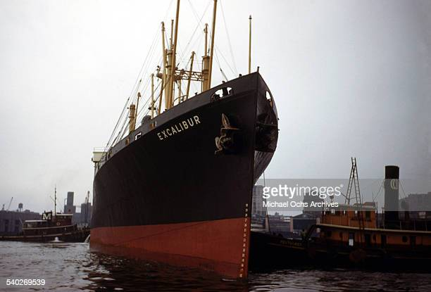 A view as the SS Excalibur of American Export Lines a cargo and passenger ship sails into the New York Harbor toward Jersey City New Jersey The SS...