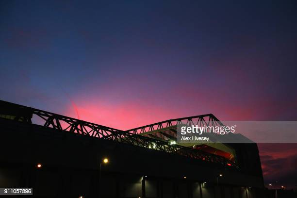 A view as the sun sets outside the stadium prior to The Emirates FA Cup Fourth Round match between Liverpool and West Bromwich Albion at Anfield on...