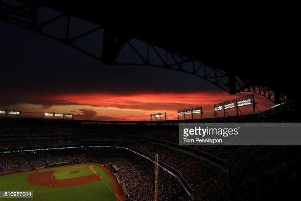 A view as the Texas Rangers take on the Los Angeles Angels in the third inning at Globe Life Park in Arlington on July 8 2017 in Arlington Texas