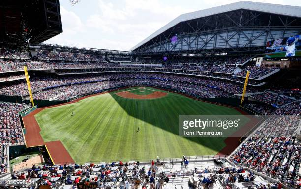 View as the Texas Rangers take on the Toronto Blue Jays in the top of the fourth inning on Opening Day at Globe Life Field on April 05, 2021 in...