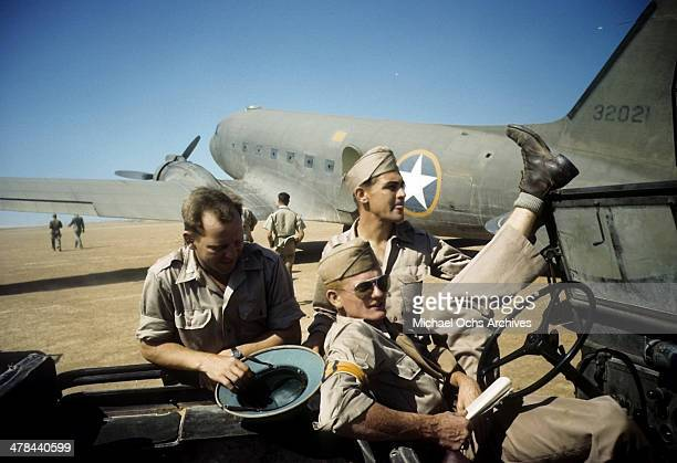 A view as US Air Force pilots get ready to fly from Algiers to Tunis Tunisia