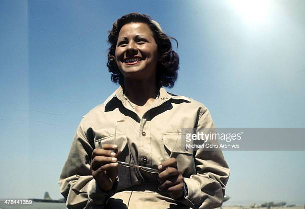 View as US Air Force service women looks on in Algiers, Algeria.