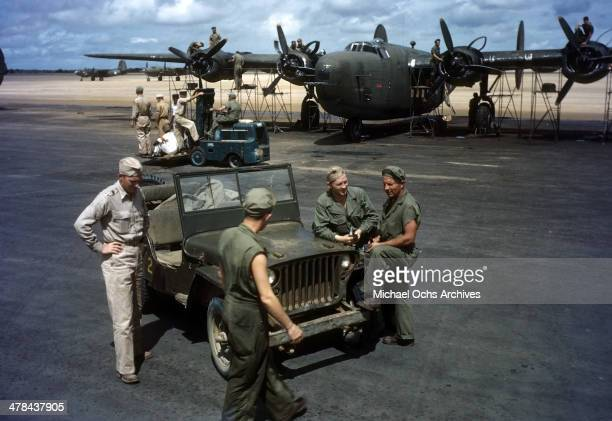 A view as US servicemen at the Parnamirim airport at the US Air Force base in Natal Brazil