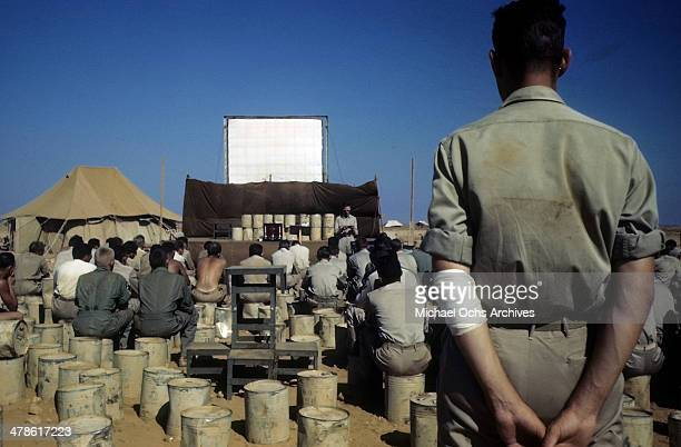 A view as US servicemen meet at the US Army Air Force/Royal Air Force base in Khartoum AngloEgyptian Sudan