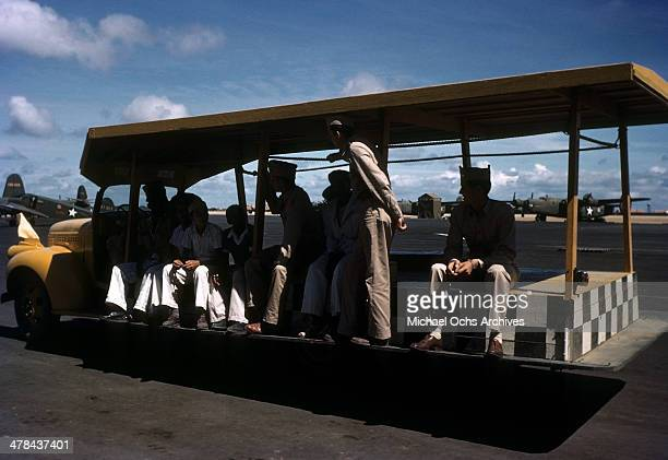 A view as US servicemen ride down the Parnamirim airport at the US Army and Air Force base in Natal Brazil