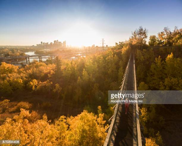 AERIAL view as woman runs on urban bridge in autumn