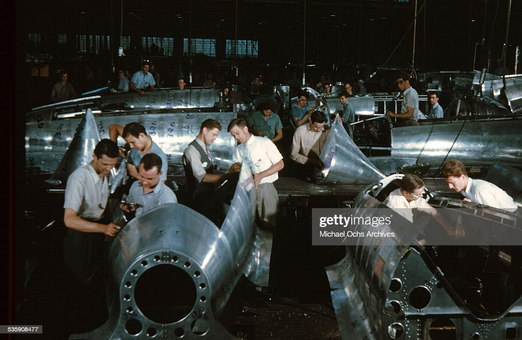 A view as workers manufacturing the Martin B-26 Marauder at the Glenn Martin Company in Baltimore, Maryland.