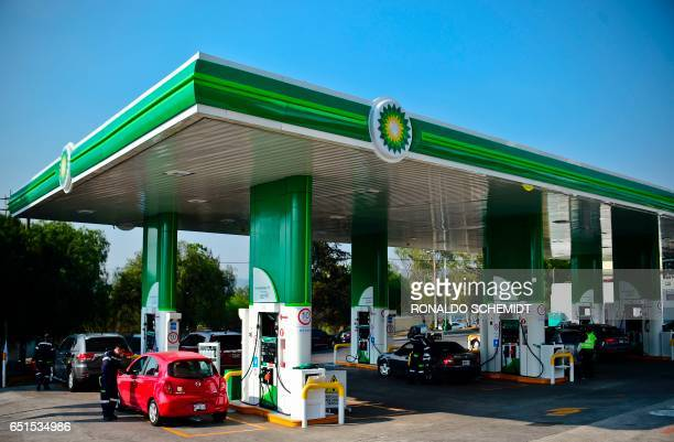 View at a British Petroleum petrol station on March 10 in Ciudad Satelite Naucalpan de Juarez municipality Mexico State near Mexico city British oil...