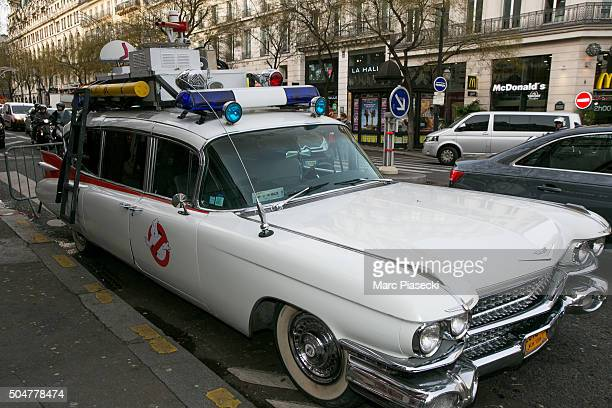 View at a 'Ecto-1' replica vehicle owned by French fans of 'Ghostbusters' movies parked in front of the 'Grand Rex' movie theater on January 13, 2016...