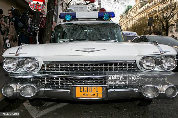 A view at a 'Ecto1' replica vehicle owned by French fans of 'Ghostbusters' movies parked in front of the 'Grand Rex' movie theater on January 13 2016...