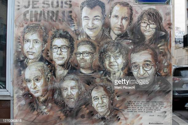 View at a painting by French street artist Christian Guemy, a.k.a. 'C215' in tribute to members of Charlie Hebdo newspaper who were killed on on...