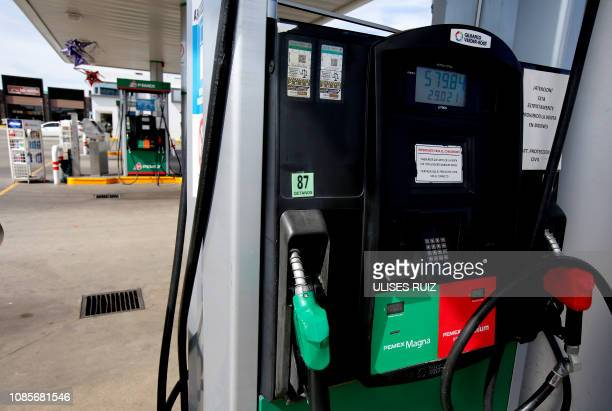 View at a Pemex station run out of gasoline in Zapopan Jalisco state on January 20 2019 Mexican President Andres Manuel Lopez Obrador said the...