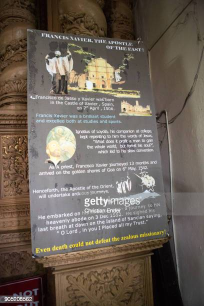 View at a sign explaining parts of the journey of Francis Xavier inside the Basilica do Bom Jesus A Unesco world cultural heritage located in Goa The...