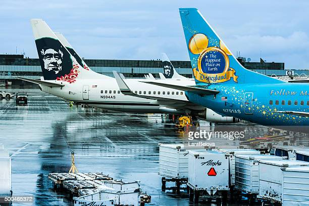 View at Alaska Airlines aircrafts from Anchorage Airport