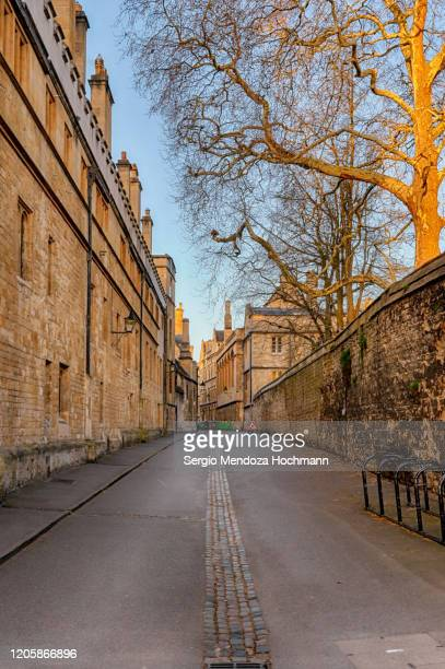 a view at dawn of the streets next to the radcliffe camera in oxford, england - sunrise dawn stock pictures, royalty-free photos & images