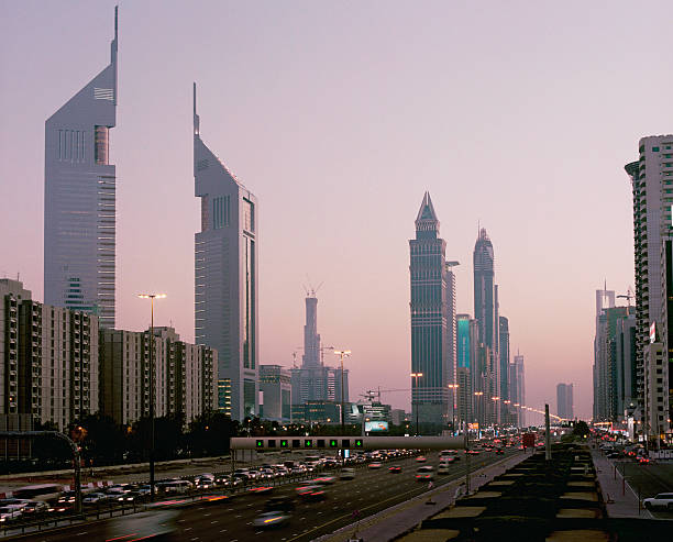 View at dusk, downtown Dubai