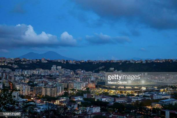 A view at dusk of the St Paul stadium before the Champions League football match between Napoli and Paris SaintGermain