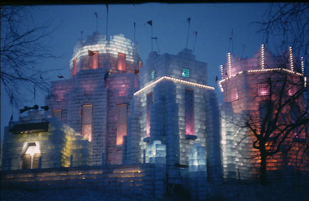 A view at dusk with the lights on the Ice Palace made from blocks of ice during the StPaul Winter Carnival in StPaulMinnesota