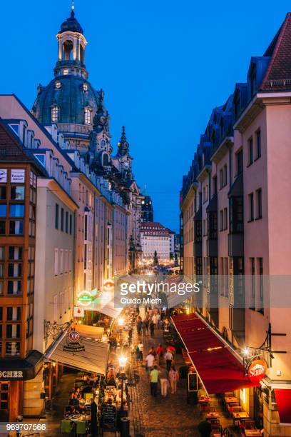 View at famous Münzgasse, Dresden at blue hour.