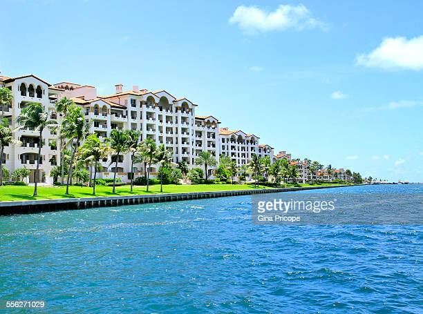 view at fisher island in miami florida - fisher island stock pictures, royalty-free photos & images