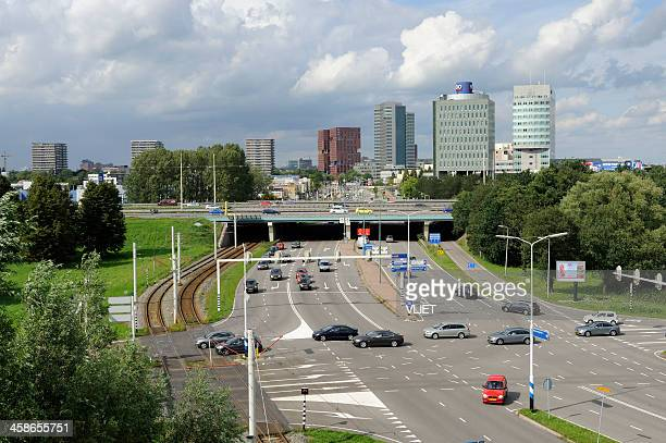 view at highway and skyline in the south of utrecht - utrecht stockfoto's en -beelden