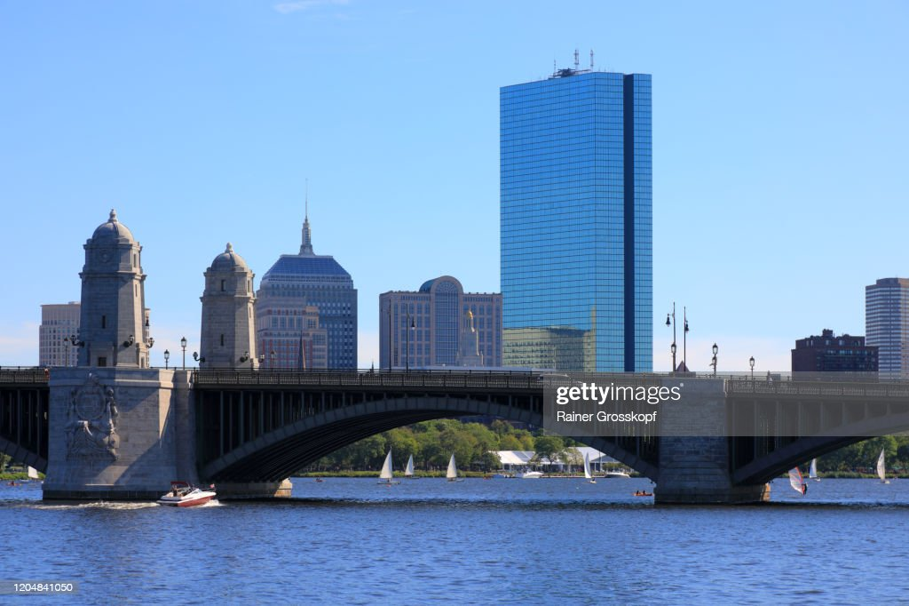 View at Longfellow Bridge with 200 Clarendon, former John Hancock Tower in the background : Stock Photo