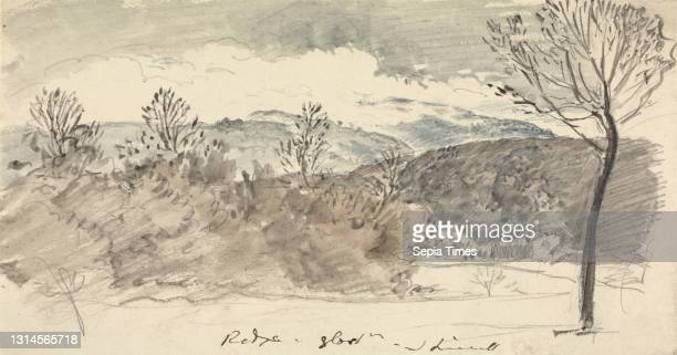 View at Mr. Sheppard's, The Ridge, Gloucestershire, John Linnell, 1792–1882, British, undated, Watercolor and graphite on moderately thick, slightly...