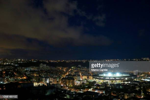 A view at night of the St Paul stadium before the Champions League football match between Napoli and Paris SaintGermain