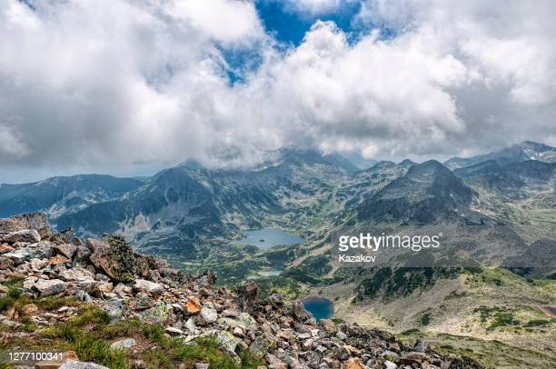 view at popovo lake and pirin mountain peaks - pirin mountains stock pictures, royalty-free photos & images