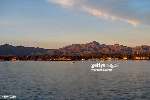 View at sunrise of the town of Loreto Sea of Cortez Baja California Mexico