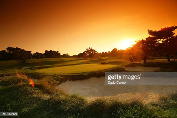 View at sunset from behind the green he 600 yard par 5, 4th hole on the East Course at Merion Golf Club, on September 22, 2005 in Ardmore,...