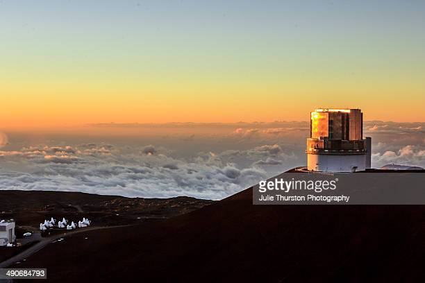 View at Sunset of the Subaru Optical IR Telescope at the Mauna Kea Observatories on the Summit on the Big Island of Hawaii
