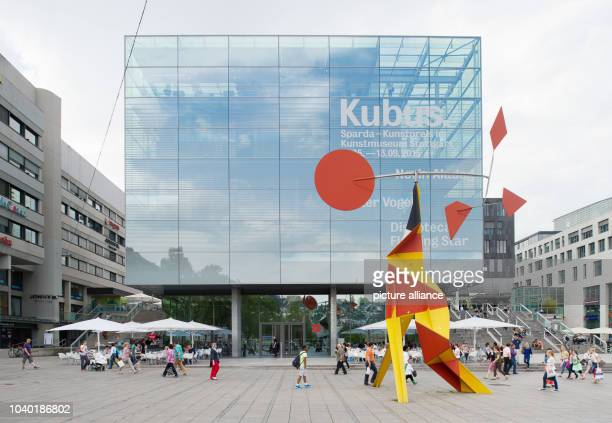 View at the art museum in Stuttgart in Stuttgart Germany 13 May 2015 The statue 'Crinkly avec disque rouge' by Alexander Calder from 1973 stands in...